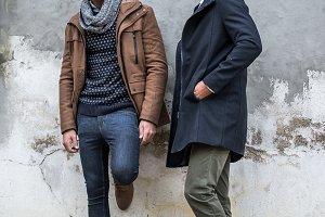 Two man models posing