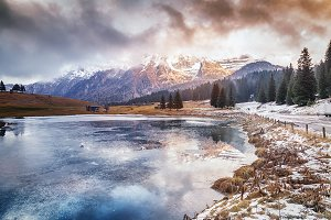 Frozen lake in Dolomites