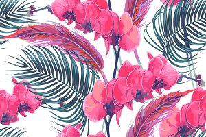 Palm leaves,flowers,feathers pattern