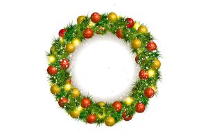 4 Christmas beautiful wreath vector