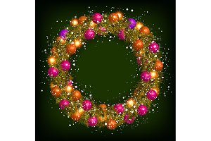3 Christmas beautiful wreath vector