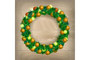 2 Christmas wreath vector
