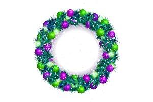 2 Christmas wreath vector