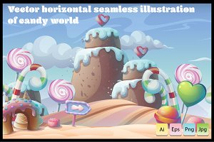 Candy World - Horizontal Seamless