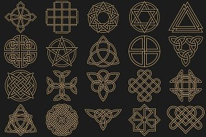 Ancient symbols in Celtic style
