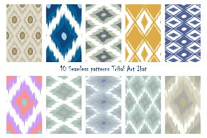 10 Seamless patterns Tribal Art Ikat