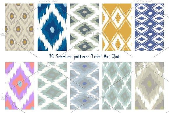 10 Seamless Patterns Tribal Art Ikat