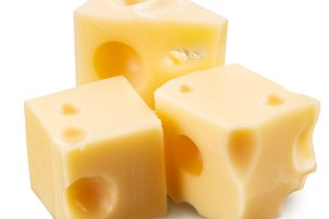 Cube of Swiss cheese.