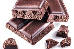Pieces of chocolate bar.