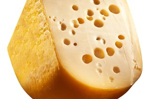 Emmental cheese head isolated