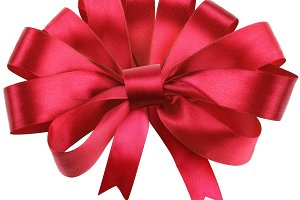 Big red bow isolated on white background.