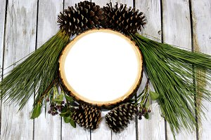 Pine branches and cones-blank wood