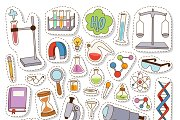 Science chemistry stickers vector