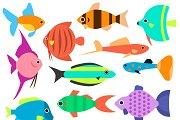 Aquarium flat style fishes vector