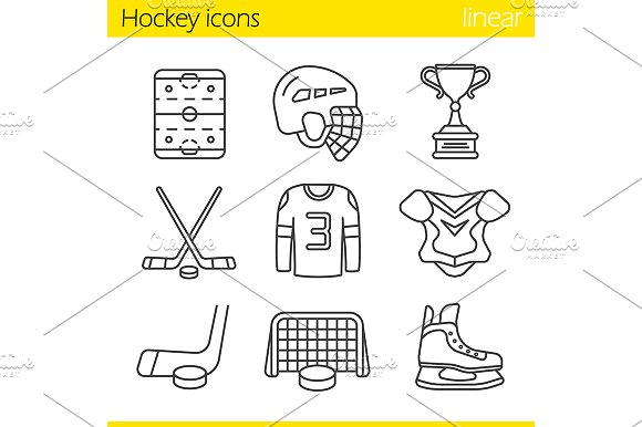 Hockey equipment. 9 icons. Vector - Icons