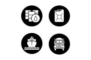 Petroleum industry. 4 icons. Vector