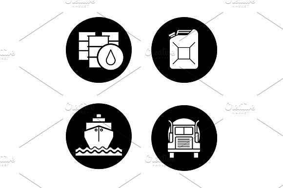 Petroleum Industry 4 Icons Vector