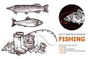 Fishing hand drawn set