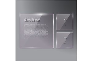 Square glass banners