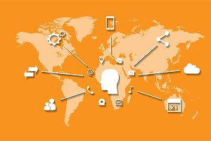 Social media world map orange