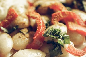 Vegetarian dish vintage desaturated