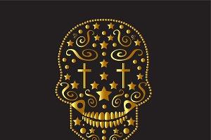Skull icon ornament fashion gold