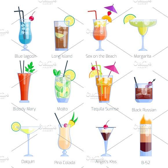 Vector Alcoholic Cocktails Set