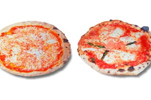 Margherita pizza over white