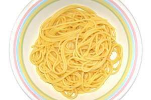 Spaghetti pasta isolated over white
