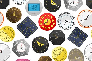 Watch clock seamless pattern