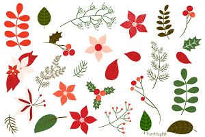 Christmas foliage, floral clipart