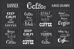 Set Coffee label or banner