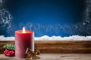 Frozen window. Christmas background.