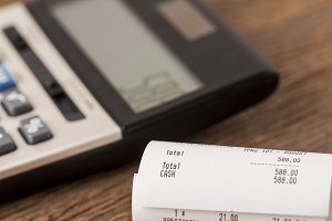 Grocery receipt and calculator