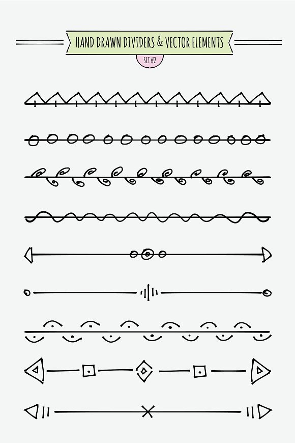 hand drawn dividers elements illustrations creative market