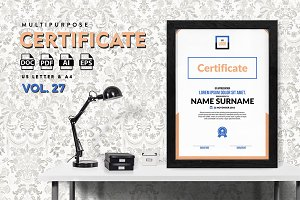 Best Multipurpose Certificate Vol 27