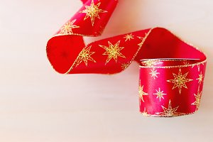 Christmas ribbon with golden stars
