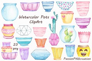 Watercolor Flower Pots clipart