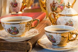 Retro porcelain coffee cups