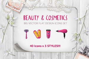 Big Beauty & Cosmetics Icons Set