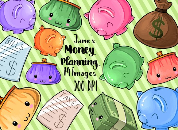 Kawaii Money Clipart ~ Illustrations on Creative Market