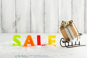 Winter sale and shopping concept