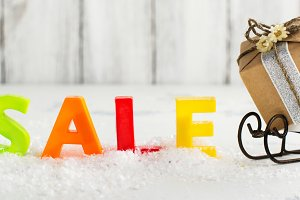 Winter sales and shopping concept