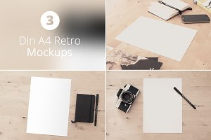 Din A4 Retro Mockup Bundle