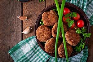 Juicy delicious meat cutlets