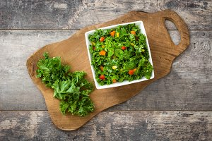 Kale salad and ingredients