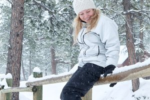 winter forest girl