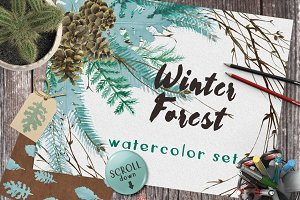 Winter Forest Watercolor Set