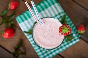 Strawberry milkshake smoothie