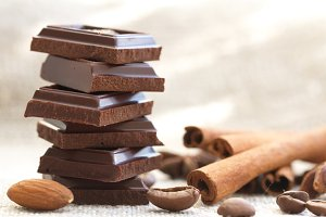 Slices of chocolate and spices